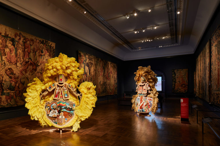 Beaded Mardi Gras costumes by Big Chief Demond Melancon on show at V&A