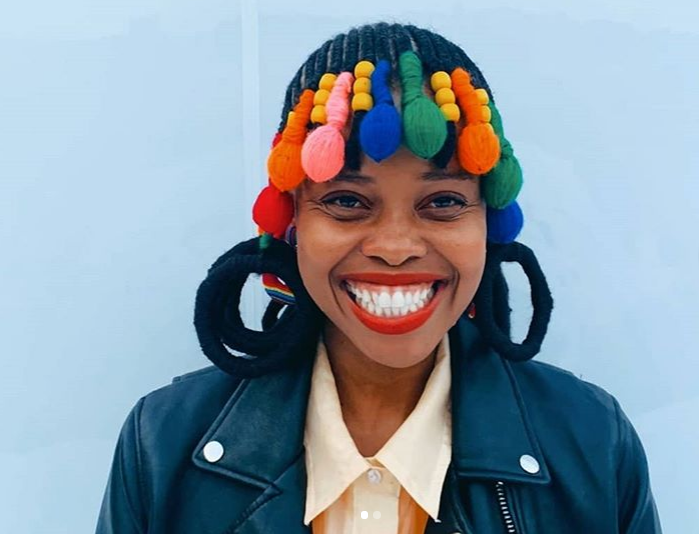 Nikiwe Dlova's hair styling is colourful, trendy and a lesson in history